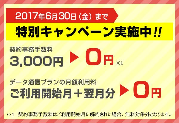 2017年6月30日まで 特別キャンペーン実施中!!