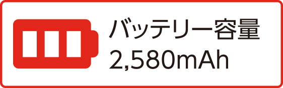 バッテリー容量2,580mAh